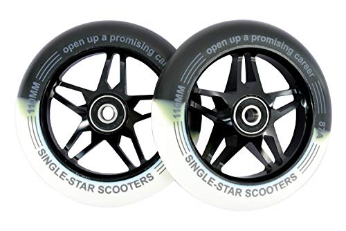 (SINGLE-STAR Star Core Scooter Replacement Wheel 110mm Pro Stunt Scooter Wheels Packed 2PCS (White Black))