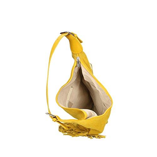 Chicca Borse Piel genuina bolso 40x27x7 Cm amarillo