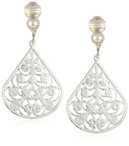 (1928 Jewelry Women's Silver Tone Filigree Pearshaped Clip Earrings, Silver, One)