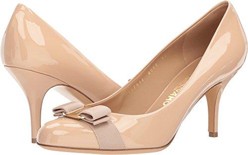 Salvatore Ferragamo Women's Calfskin Mid-Heel Pump New Blush Patent 10 B (Ferragamo Womens Shoes)