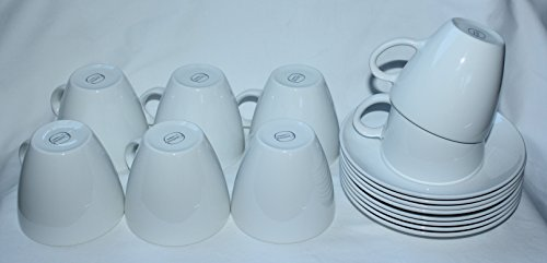 Coupe White Centura - Corning Centura White Coupe Flat Coffee Cups & Saucers- Set of 8
