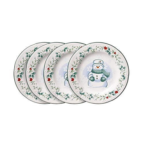 Pfaltzgraff Winterberry Snowman Salad Plates, Set of 4