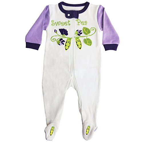 Sozo Girls' Toddler Sweet Pea Footie, Multi 12 Months