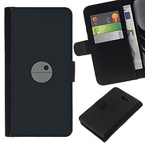 NEECELL GIFT forCITY // Billetera de cuero Caso Cubierta de protección Carcasa / Leather Wallet Case for Sony Xperia M2 // Minimalista Estrella de la Muerte