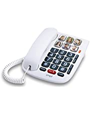 SMPL Hands-Free Dial Photo Memory Corded Phone, One-Touch Dialing, Large Buttons, Flashing Alerts, Durable, Perfect for Seniors, Alzheimer's, Dementia, Hearing Impaired