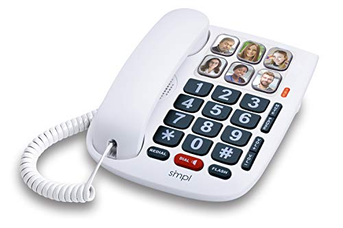 SMPL Hands-Free Dial Photo Memory Corded Phone # 56010, One-Touch 6 Photo Buttons, Amplification of Incoming Calls, Big Button Keypad, High-End Durable ABS Plastic and Button Construction