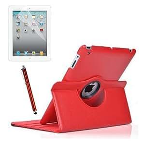 SODIAL(R) Funda de Cuero Multi-Funcion con Soporte para Apple iPad 3 v3 Tercera Generacion, Tambien para iPad 2, con Magnetico Auto Despertar y Dormir, Incluyendo Protector de Pantalla y Lapiz Tactil - Rojo