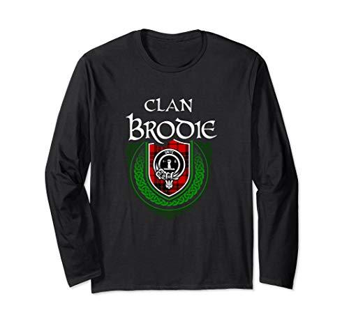 Clan Brodie Surname Scottish Clan Tartan Shield Badge Long Sleeve T-Shirt ()