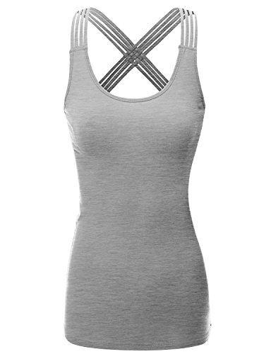 Doublju Womens Basic Round Neck Strappy Crisscross Back Tank Top HEATHERGRAY X LARGE