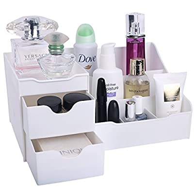 """Mantello Makeup Organizer Vanity Organizer with Drawers, White - Approximate Exterior Dimensions: 11.25""""L x 6.875""""W x 5.25""""H. Made of durable plastic Get Organized. Keeps makeup cosmetic personal care items and more within easy reach 9 Compartments including two drawers separate and organize your brushes, bottles, cosmetics and more - organizers, bathroom-accessories, bathroom - 41oOzKDkdjL. SS400  -"""