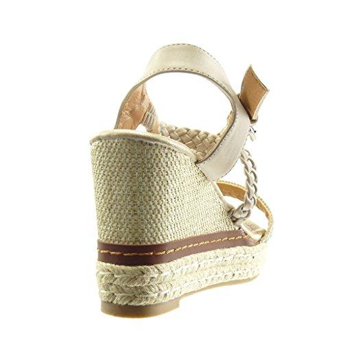 Angkorly - Zapatillas de Moda Sandalias alpargatas zapatillas de plataforma mujer strass tanga trenzado Talón Plataforma 10 CM - Gris