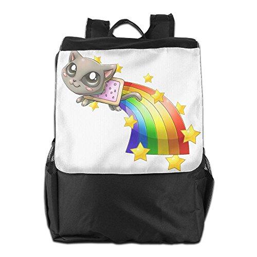 Rongyingst Nyan Cat Messenger Bag Shoulder Backpack Travel Hiking Rucksack For Womens Mens Boys Girls School Bookbags One Size