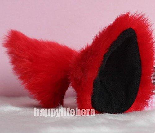 Hot Sweet Lovely Anime Lolita Cosplay Fancy Neko Cat Ears Hair Clip Red with Black Inside