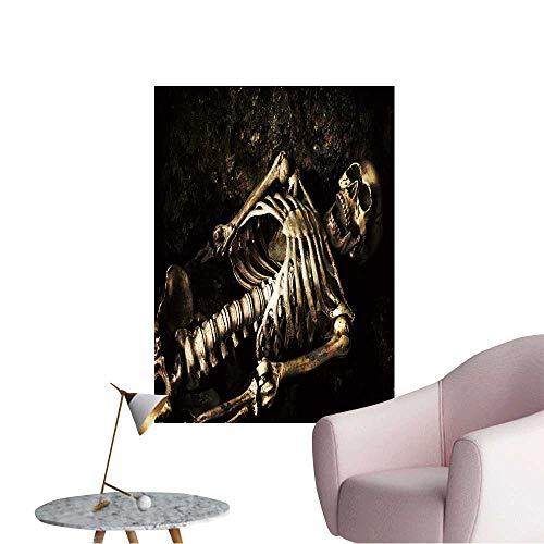 Wall Decals Skeleton Lying in Shallow Grave at Halloween Environmental Protection Vinyl,16
