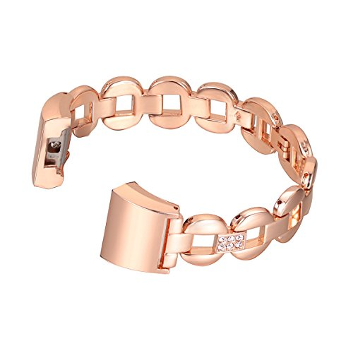 For Fitbit Charge 2, bayite Replacement Metal Bracelet Bands Rose Gold with Rhinestone