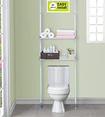 ALLZONE Bathroom Organizer, Over The Toilet Storage Rack, Over The Washer Shelf for Laundry Room, No Drilling, Extremely Easy to Assemble, Height and Width Adjustable with Ample Space