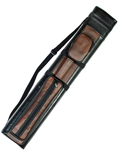 Pool Hard Cue Case Tube (2x2 Hard Pool Cue Billiard Stick Carrying Case, Brown-Black)
