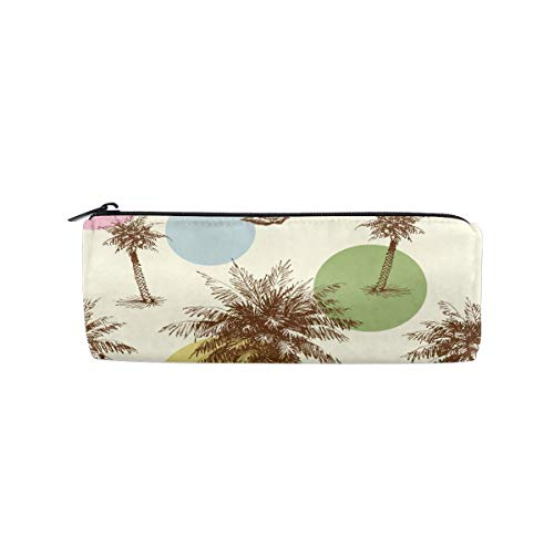 Coconut Point - Pumnims Retro Wave Point Coconut Tropical Cylinder Circular Round Pencil Pack Organizer Pen Glasses Case Cosmetics Canvas Bag Makeup Pouch Holder Box Girls Kid Boy School Office Gift