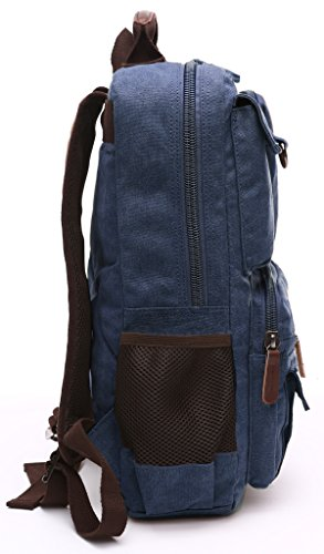 Aidonger Canvas School Bag Laptop Backpack Hiking Rucksack Coffee