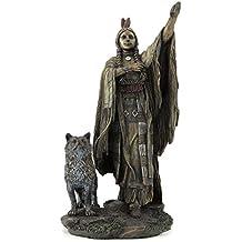 Sacagawea Native American Woman with Wolf Statue Sculpture Figurine