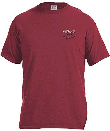 NCAA Arkansas Razorbacks Simple Circle Comfort Color Short Sleeve T-Shirt, Chili,XX-Large