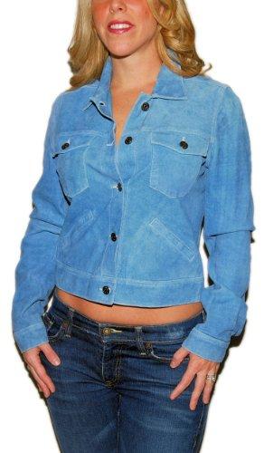 Polo Ralph Lauren Sport Womens Suede Leather Western Vintage Jacket Blue Medium