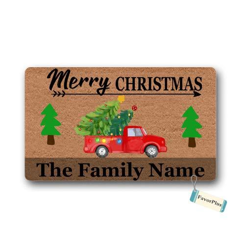 (Doormat Merry Christmas Family Name Text Custom Personalized Christmas Decor Outdoor/Indoor Non Slip Decor Funny Floor Door Mat Area Rug for Entrance 15.7x23.6 Inch)