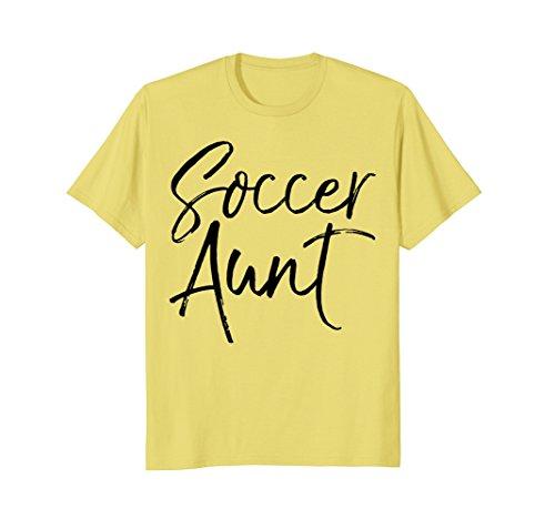 Mens Soccer Aunt Shirt Vintage Proud Auntie High School Tee Small Lemon