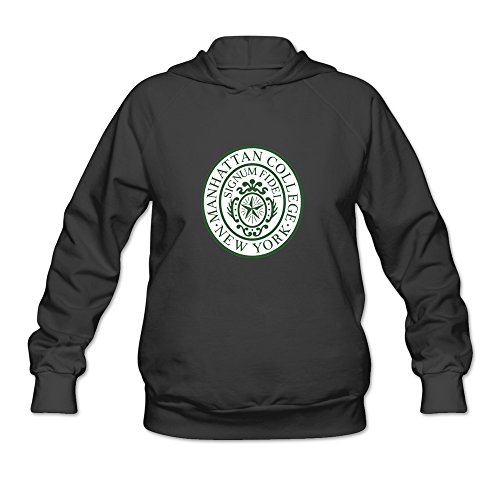 Manhattan College Green Seal Awesome 100% Cotton Black Long Sleeve Hoodie For Women Size ()