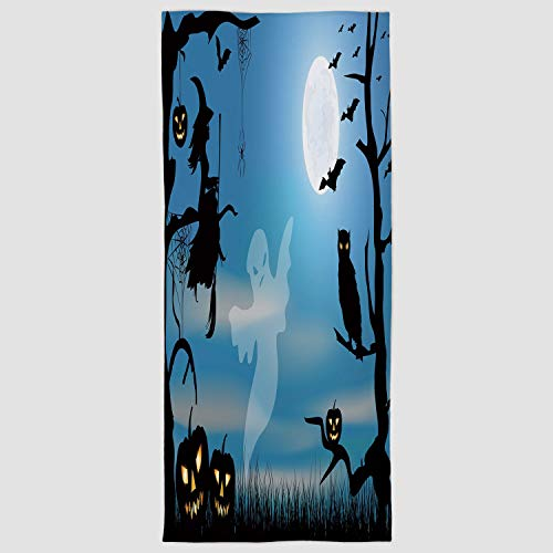 iPrint Cotton Microfiber Hand Towel [ Halloween,Ghost Witch Owl Spider Web Bats Trees Fantastic Grange Forest at Night Decorative,Blue Black White ] for Hotel SPA Beach Pool Bath -