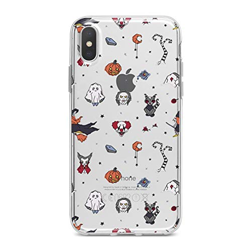 (Lex Altern TPU Case for iPhone Apple Xs Max Xr 10 X 8+ 7 6s 6 SE 5s 5 Halloween Theme Flexible Orange Pumpkins Smooth Scary Clear Clown Design Soft)