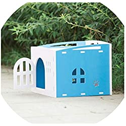 invincible besstore Cat with Door Window Cat Bed Cat House for Small Dogs Four Seasons Kitten House,Blue with Door,M 34X40X40Cm
