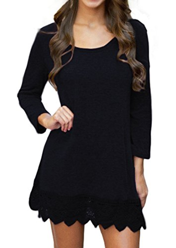 Songbai Women's Basic Long Sleeve Casual Loose T-Shirt Dress Black M
