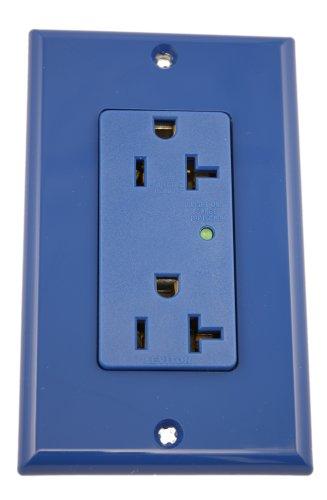 Leviton 5380-B 20 Amp, 125 Volt, Decora Plus Duplex Surge Suppressor Receptacle, Straight Blade, Industrial Grade, Self Grounding, Surge with Indicator Light, Blue