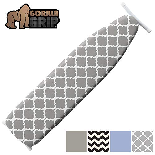 Gorilla Grip Reflective Silicone Laundry Board Cover Pad for Ironing, 15x54, Iron Faster, Pads Resist Scorching and Staining, Elastic Edge, Thick Padding, No Fasteners Needed, Quatrefoil Gray White