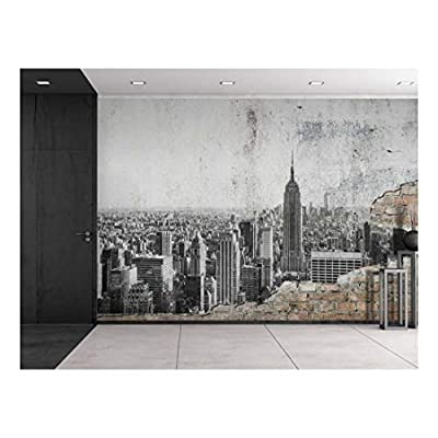 Wonderful Technique, it is good, Grayscale Photo of New York City on a Brick Wall Wall Mural