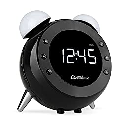 Electrohome Retro Alarm Clock Radio with Motion Activated Night Light and Snooze, Digital AM/FM Radio, Wake-up Light, Dual Alarm, Auto Time Set, Battery Backup, Dimmer, and Temperature Display (CR35)