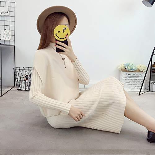 Abito slim Donna lavorato Maglione White maglia a fit lungo medio Uw55qfAx0