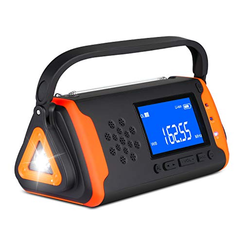 Emergency Weather Crank Radio 4000mAh - Portable, Solar Powered, Hand Crank, AM/FM/NOAA Weather Alert Radio, Aux Music Play, USB Cell Phone Charger, SOS Alarm, LED Flashlight for Hurricanes,Tornadoes