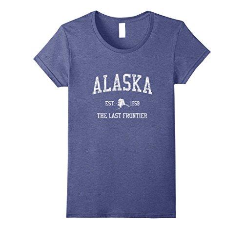 Retro Sport Vintage Tees - Womens Retro Alaska T Shirt Vintage Sports Tee Design Large Heather Blue