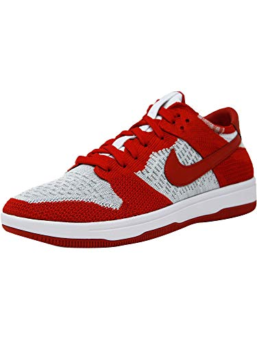 (Nike Men's Dunk Flyknit University Red/White-Wolf Grey Ankle-High Basketball Shoe - 9M)