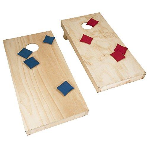 Deluxe Regulation Size Wood Cornhole Bean Bag Toss Game Set - Includes Bonus Mini Cornhole Tabletop Game! by TMG
