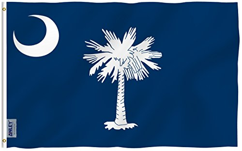 ANLEY [Fly Breeze] 3x5 Foot South Carolina State Polyester Flag - Vivid Color and UV Fade Resistant - Canvas Header and Double Stitched - South Carolina SC Flags with Brass Grommets 3 X 5 Ft (Carolina Gamecocks Flag South)