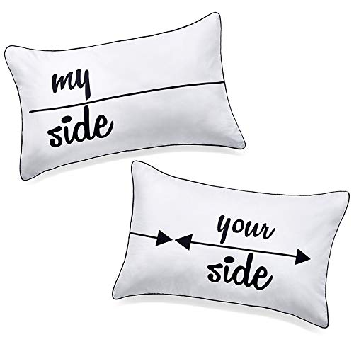 DasyFly My Side and Your Side Couples Pillowcases,His Hers Pillow Case,Funny Couples Gifts for Anniversary,Wedding, Engagement,V-Day,Chirstmas.Cute His and Hers Gifts for Couples