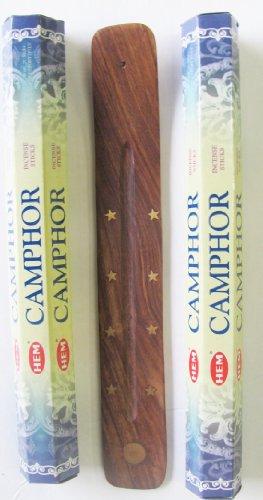 Incense Camphor - Camphor Incense Alcanfor Incienso Made in India 40 Sticks Plus a Free Wood Burner