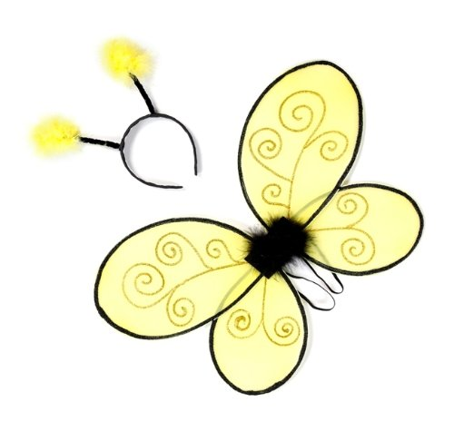 Great Pretenders Bumble Bee Wings With Headband, Yelow/Black (One Size)
