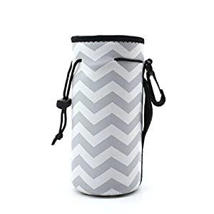 Water Bottle Carrier,Insulated Neoprene Water Gym Travel bottle Holder Bag Protector Sleeve Case Pouch Cover 0.6L or 0.75L, Great for Stainless Steel and Plastic Bottles (GREY)