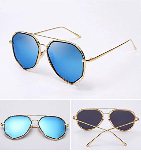 Film Ojales Blue Gold Frame Cara Beat polarizados 14 Sunglasses Street Ice Silver Redonda de 2cm Hombre Resina Mercury Frame para LCCNew con Red 14 2 q1S8a