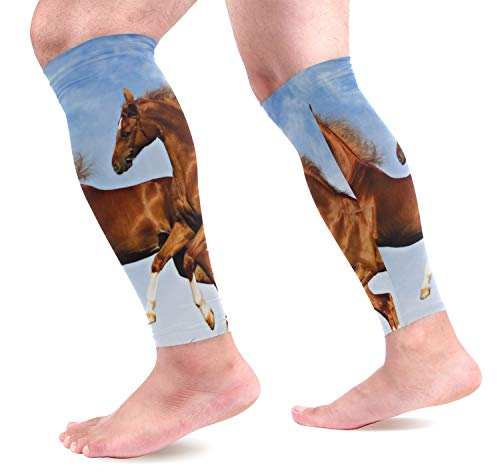 KEAKIA Two Horses Frolic On The Plain Calf Compression Sleeves Shin Splint Support Leg Protectors Calf Pain Relief for Running, Cycling, Travel, Sports for Men Women (1 - Horse Frolic