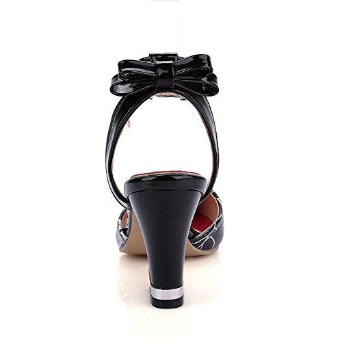 AgooLar Mujeres Tacón ancho Colores Surtidos Hebilla Puntera Cerrada Sandalia Negro